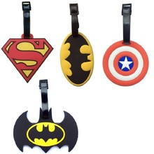 4Style Superman Batman Captain America Creative Silicone Luggage Tag Pendants Hang Tags Tourist Products Toy Figure 1pc