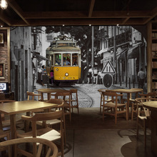 Free Shipping 3D Hong Kong style retro nostalgia building Street bus bar lounge restaurant tea shop large mural wallpaper