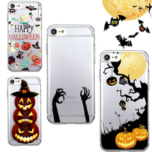 Funny Spooky Skull Pumpkin Spider Mask Boo Halloween Transparent Soft TPU Phone Case Cover Coque Capa for iPhone 7 6 plus 5 SE