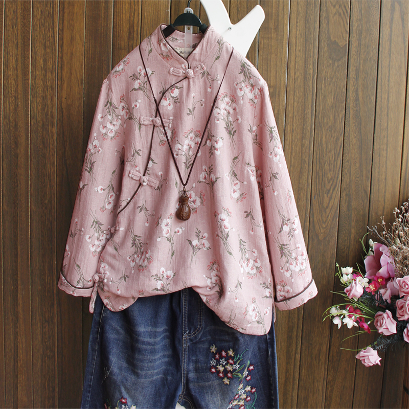 Floral Shirt Cotton Linen Chinese Style Stand Collar Plate Button Pink Top Femme Long Sleeve Spring Vintage Blouses Women Flower