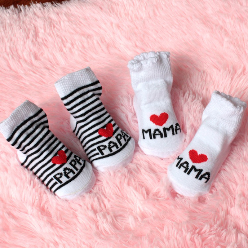 DreamShining Fashion Baby Socks Stripe Newborn Toddler Infant Sock Kids Girls Boys Cotton Love Mama Papa Socks For 0~6 Months(China (Mainland))