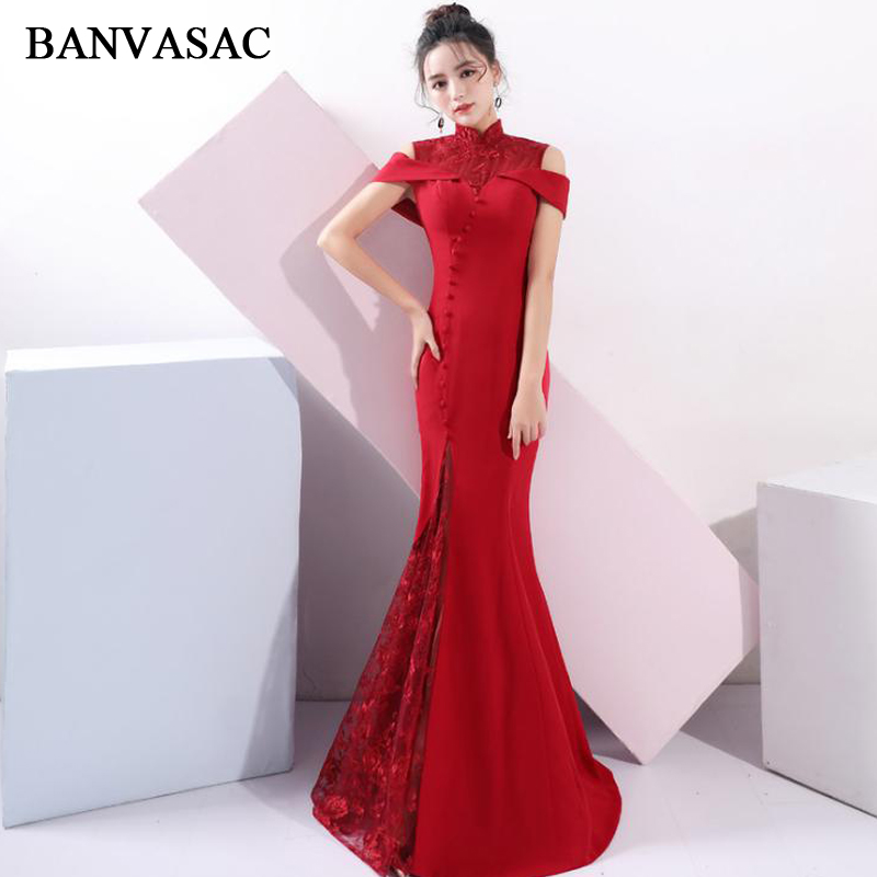 BANVASAC Lace Embroidery High Neck 2018 Button Mermaid Long Evening Dresses Vintage Party Short Sleeve Prom Gowns