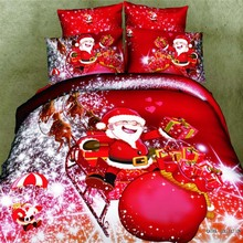 Cartoon Merry Christmas Red Santa Claus Bedding Set Queen Size Pure Cotton Bed Sheet Quilt Cover Pillowcase Children Bedroom Set(China)