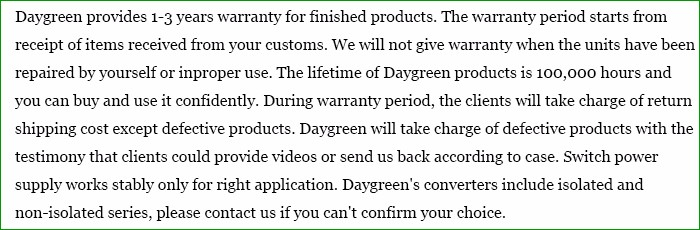 Daygreen Warranty Term