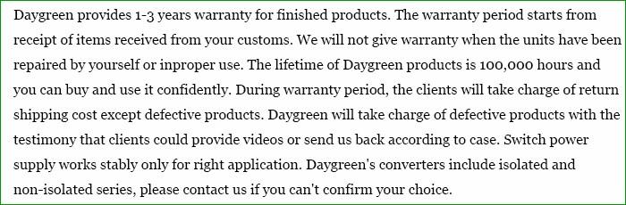 Daygreen Warranty Term