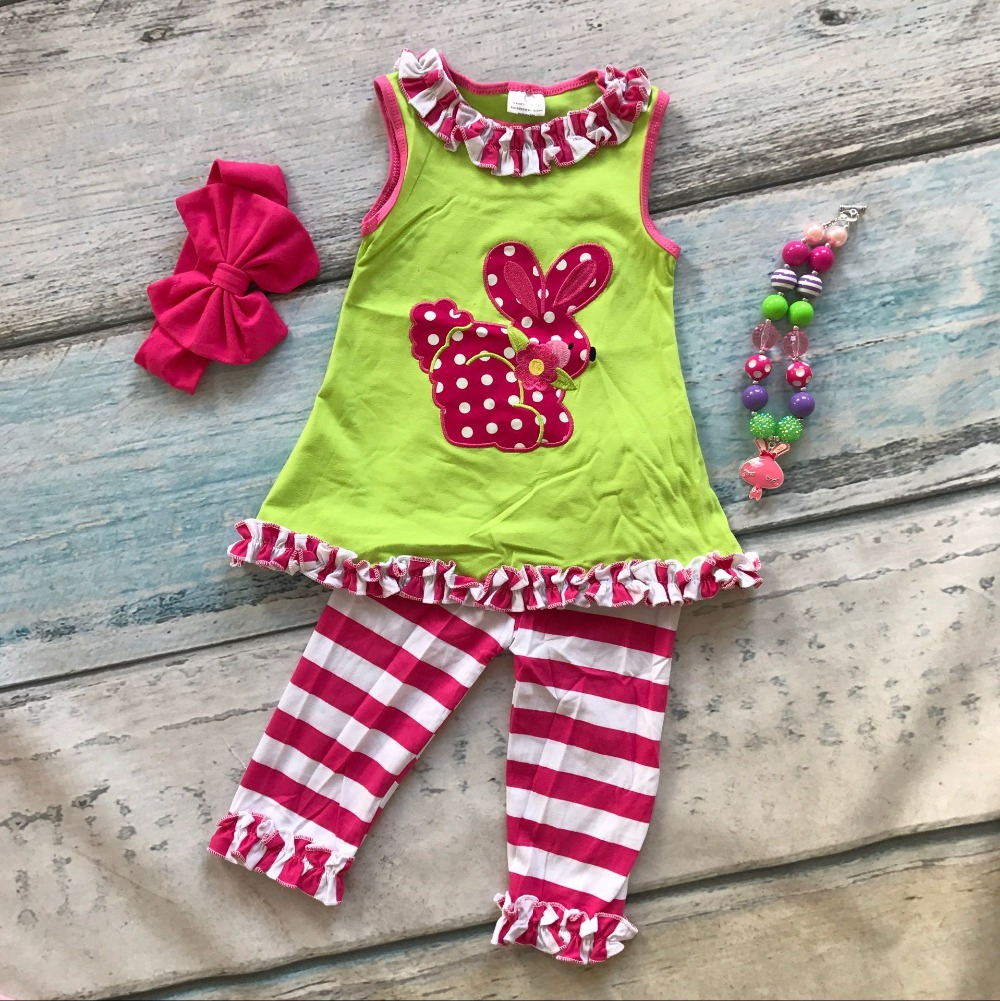 baby little girls boutique clothing sets Easter outfits girls ruffles cotton striped pant sets summer outfits with accessories<br><br>Aliexpress