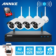 ANNKE 4CH CCTV System 960P NVR 4PCS 1.3 MP IR Outdoor P2P Wireless Wifi IP CCTV Camera Security System Surveillance Kit 1TB HDD(China)