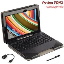 3 in 1 for Asus Transformer Book 10.1 T100 T100Ta Stand Cases Folio Keyboard Leather Tablet PC Case+OTG+Pen
