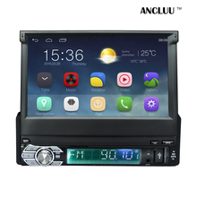 Android 6.0 Universal 1 Din Car video Player GPS Navigation In-dash retractable screen 1 din Car Radio Stereo with bluetooth(China)