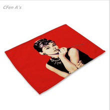 CFen A's Monroe Hepburn painted Dinner table Cotton Printing Placemat Setting placemats table bowl plate pad coasters mat 1pc(China)