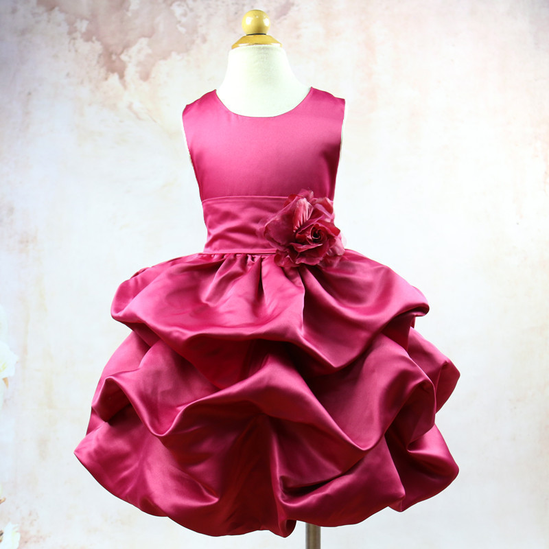 2017 New Child Girl Kids Flower Dress For Wedding Party Flod Pattern Kids Sleeveless Wedding Dresses Clothes With Floral Belt<br>
