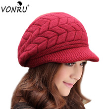 Newest Hot Sale Elegant Women's Knitted Hats Rabbit Fur Cap Autumn Winter Ladies Female Fashion Skullies Warm Hat Wholesale(China)