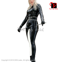 Buy Black Sexy Latex Catsuit Front Belts Zipper Rubber Body suit Leotard Jumpsuit Unitard overall zentai Wrap LT-091