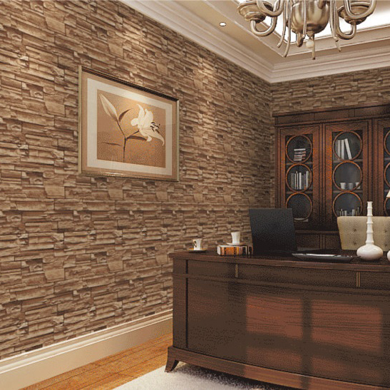 brown brick wall wallpaper reading room wall decor paper papel de parede vintage<br>