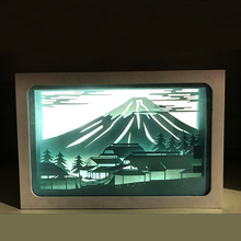Mount Fuji Japan Design Paper Lantern 3D Papercut Light Boxes, Room desk Baby Night Light Lamp of Creative Light Paintings(China)