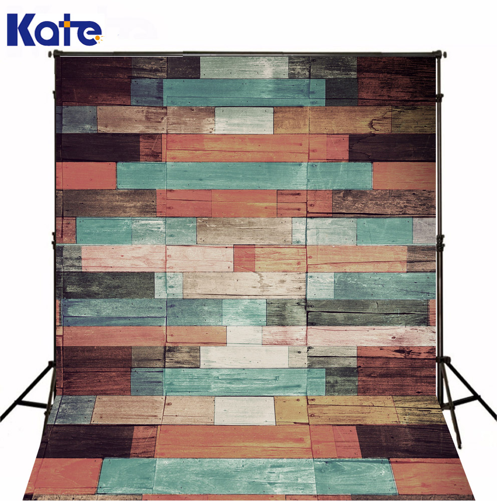 Kate  Digital Printing Photo Studio Backdrop Retro Colorful Wood Wall For Newborn Child Photography Background<br>