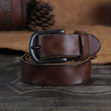 Buy First layer cowhide strap male 3cm vintage genuine leather pin buckle belt female brief fashionable casual pleated strap for $34.13 in AliExpress store