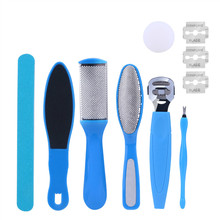 Manual Hand Foot File Set Dead Hard Skin Callus Remover Sanding Nail Buffers Cuticle Shaver Smooth Feet Pedicure Tool+3 Blades 0(China)