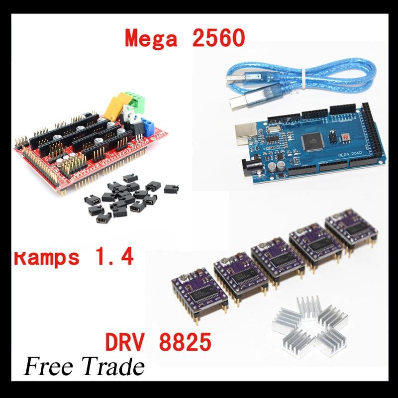 3D Printer 1pc Mega 2560 R3 + 1pc RAMPS 1.4 control panel+ 5pcs DRV8825 Stepper Motor Drive Carrier for 3D printer kit<br><br>Aliexpress