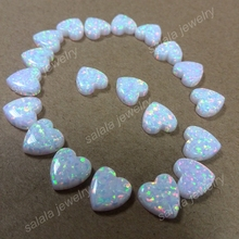50pcs /lot  Free Shipping 10mm Heart Fire Opal, op17 Snow White Synthetic  Heart Cabochon Opal  For Charms & Necklace