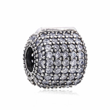 Hot Sale Real 925 Sterling Silver Glamorous Pave Barrel Clip Charm Beads Fit Original Pandora Bracelet Authentic Jewelry Gift(China)