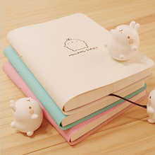 2017-2018 Cute Kawaii Notebook Cartoon Molang Rabbit Journal Diary Planner Notepad for Kids Gift Korean Stationery Three Covers(China)