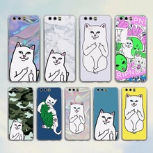 brand Cute Popular middle finger cat style transparent clear Cover Case for huawei P10 P9 Lite P9 P10 Plus P8 Mate 9 S 8