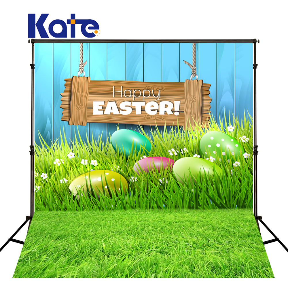 KATE Photography Backdrops 5x7ft Happy Easter Backdrop Wooden Easter Eggs Background Green Scenery Spring Backdrop for Studio<br>
