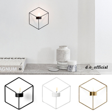 Nordic style ornaments 3D geometric candlestick wall candle holder sconce matching small tealight ornaments steel minimalist