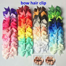 40Pcs/lot 8cm Handmade Grosgrain Ribbon Hair Bow with Clip Grils Boutique Bow Hair Clip Hair pin Head wear Kids Hair Accessories