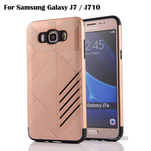 Luxury Armor Shockproof Soft Silicon PC Combo Cover For Samsung Galaxy J7 J710 2016 Case J700F J700M J700H J710F J710M J710H bag