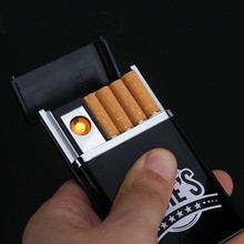 Plastic Portable Cigarette Box Case with USB Electronic Lighter Rechargeable Windproof Plasma Arc Lighter Smoking Gadget for Men