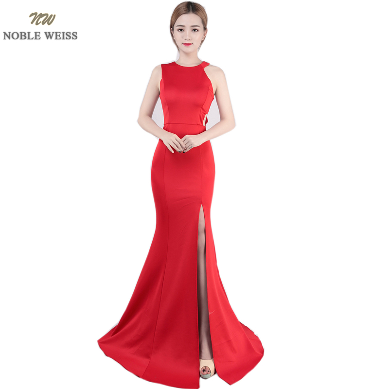 NOBLE WEISS Exquisite O-Neck Evening Gown 2019  Cutaway Sides Sexy Thigh High Slits Prom Dress Simple Design Evening Dress