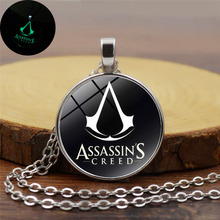 Buy 2017 New Cool Assassins Creed Luminous Necklace Glass Dome Cabochon Pendant Silver Chain Necklace Glow Dark Game Jewelry for $1.79 in AliExpress store
