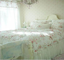 Vintage Red Rose princess Bedding set floral cotton girls Duvet Cover king queen twin rural comforter set(China)