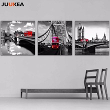 Modern Classic Scenery Black And White Red London Bus Canvas Art Print Painting Poster, Wall Picture For Living Room, Home Decor