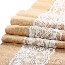 30cm Wide White Lace Table Runner Vintage Natural Jute Wedding Party Decoration Hessian Tablecloth