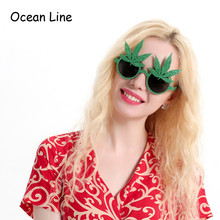 Green Shiny Maple Leaf Glasses Costume Mask Props Party Favors Accessories Event Eyewear Festive Party Supplies Decoration(China)