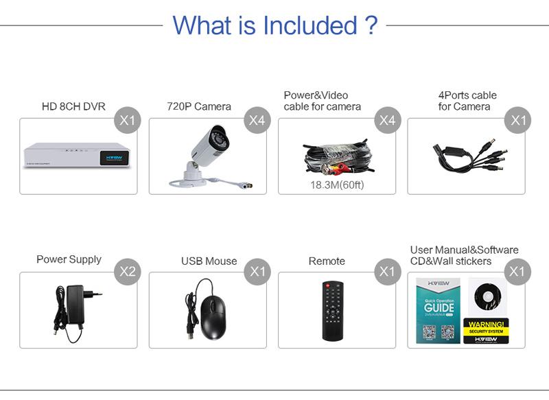 H.VIEW 8ch CCTV Surveillance Kit 4 Cameras Outdoor Surveillance Kit IR Security Camera Video Surveillance System DVR Kits (2)