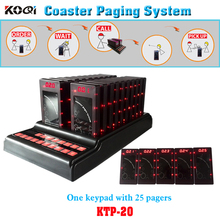 Restaurant Coaster Pager System In Time Delivery One Set Including Durable Keyboard With 25pcs Pagers For Customer Waiting Call(China)