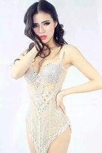 women perspective one-piece dancewear female nightclub ds lead sexy sequins rhinestone star costume bodysuit women's dress(China)