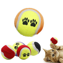 Pet Tennis Ball 1Pc Small Colorful Dog Paw Puppy Cat Bouncy Tennis Play Catch Toy Pet Supplies random deliver(China)