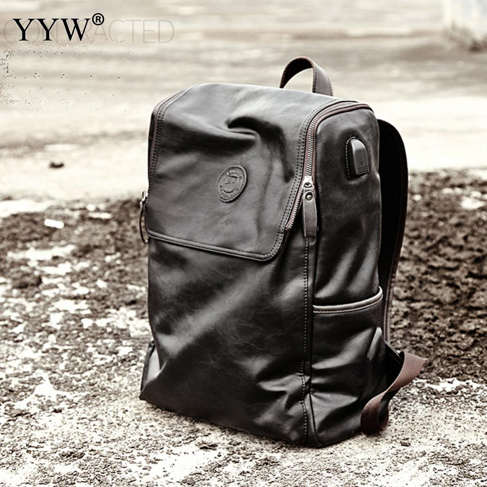 New Arrival 2017 Male Functional bags Fashion Men backpack PU Leather backpack big capacity Men bags Men Casual Daypacks male<br>