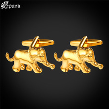 Cufflinks Elephant Gold color Mens Animal Cufflinks With Brand Box Cuff Link For Men Wedding Shirts cuff buttons C2013G(China)