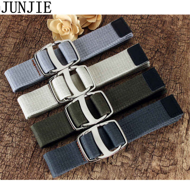 Hot Sale Fashion Thickening Canvas Belts Double Ring Buckle Weaving Unisex Knitted Belt Comfortable Waist Strap for Jeans 50pcs(China)