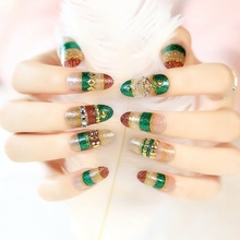 Mix Color Gold Green Coffee Glitter False Nails Clear Metallic Rivet Long Round Head Full Cover Acrylic Fake Nail Art Tips Z220