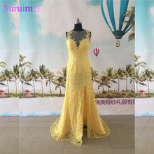 Yellow Evening Dresses Lace High Neck Nude Back See Through Side Slit Semi Formal Evening Dress Prom Gown(China)