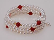Topearl Jewelry Button White Pearl Bangle Bracelet with Red Coral HNB024