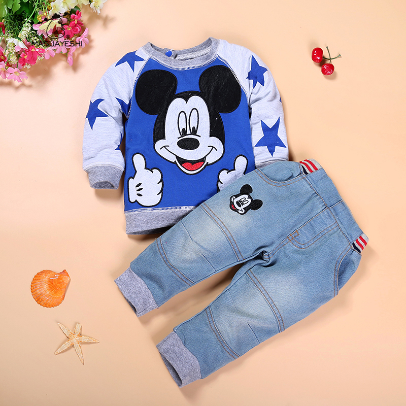 Boy Clothing Sets Autumn Childrens Clothing Mickey Boy Tracksuits Set 2PCS Long Sleeve Sweatshirts Jeans Boy Clothes Suits<br><br>Aliexpress