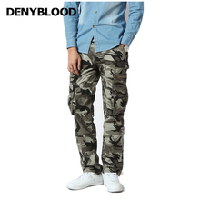 Denyblood Jeans Mens Cargo Pants Army Greem Camouflage Twill Chinos Pants Military Cotton Working Clothing Casual Pants 7913(China)
